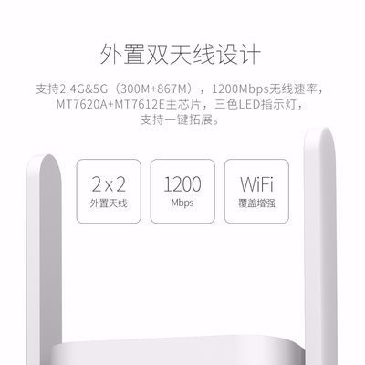 双频无线扩展器1200Mbps路由助手中继器放大器信号穿墙外置双天线