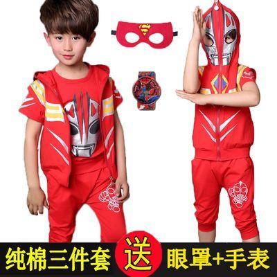 童装3岁奥特漫衣服三件套6夏季7薄款8短袖纯棉男童儿童蜘蛛侠套装