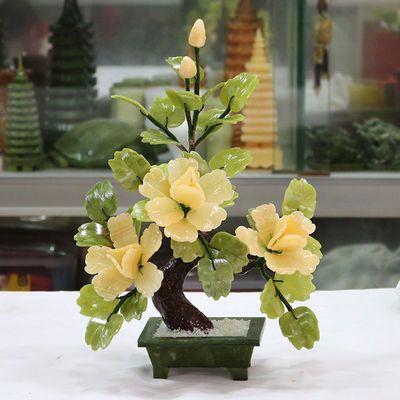 原石玉石纯色牡丹花玉器客厅家居酒柜装饰品摆件创意礼品花开富贵