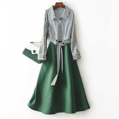 海谧2020春季新款时尚洋气优雅收腰显瘦条纹中长款A字连衣裙女