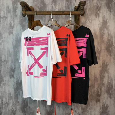 夏季新款OWF OFF WHITE粉色涂鸦箭头99宽松ow情侣装男女短袖t恤潮