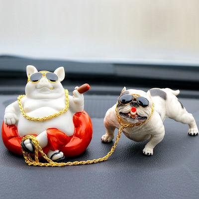 创意汽车摆件恶霸犬个性酷炫仿真狗车载饰品保平安车内装饰香水座