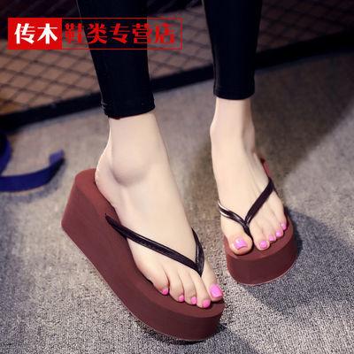 人字拖女夏凉拖鞋女外穿韩版沙滩防滑学生增高厚底时尚夹脚细带拖
