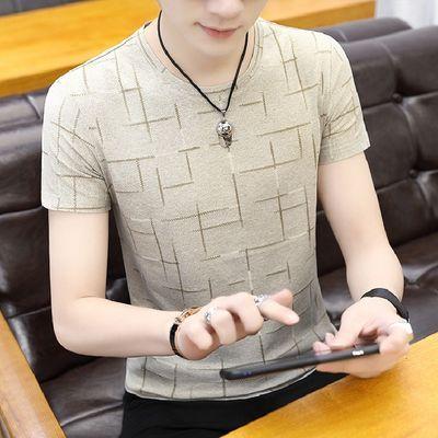 男士短袖t恤男夏季韩版青年圆领T恤修身半袖上衣男衣服潮休闲体恤