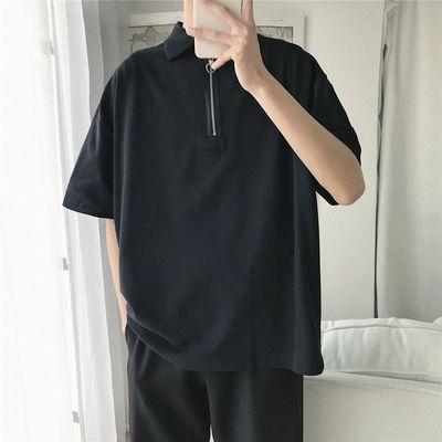 夏季polo衫男士t恤短袖宽松衣服韩版潮流衬衫领夏装学生港风半袖