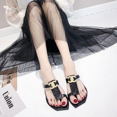 凉拖鞋女夏外穿学生韩版新款百搭网红社沙滩时尚女士平底鞋人字拖