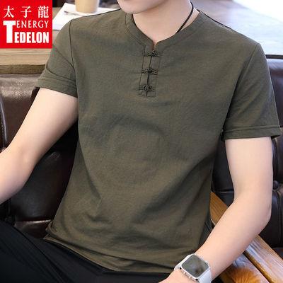 太子龙短袖t恤男2020潮流下季中国风宽松男士短袖t恤盘扣打底衫