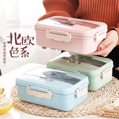 小麦秸秆保温饭盒学生女分隔日式便当盒微波炉上班族便携式餐盒男