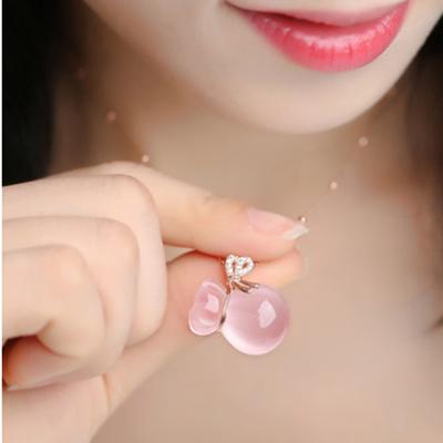 【送证书 假一赔十】925芙蓉石项链女粉水晶玫瑰金吊坠锁骨链礼物