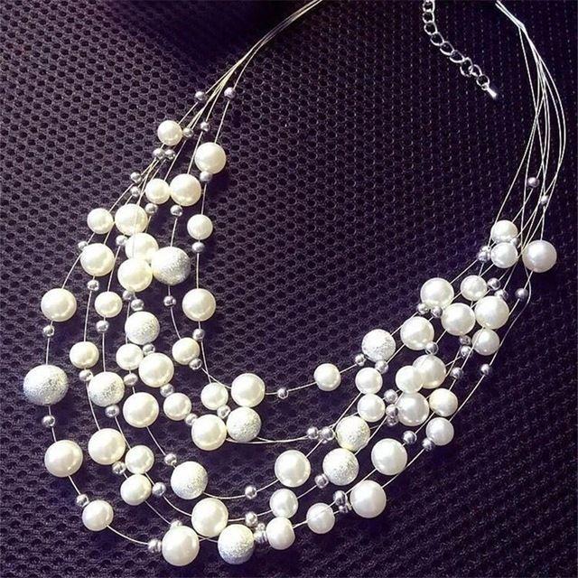 韩国装饰品时尚毛衣链短款多层珍珠项链女
