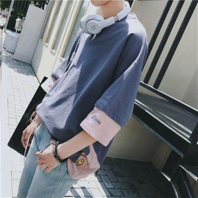 笑脸短袖男生夏季T恤卫衣男学生韩版潮流中袖上衣七分袖宽松半袖