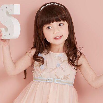 儿童假发女长卷发可爱公主齐刘海长发小女孩逼真全头套女童假发套