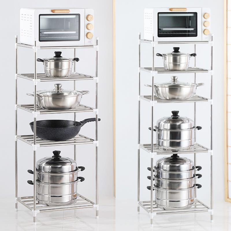 加厚不锈钢置物架厨房用品收纳整理架落地卫生间收纳架多层四角架