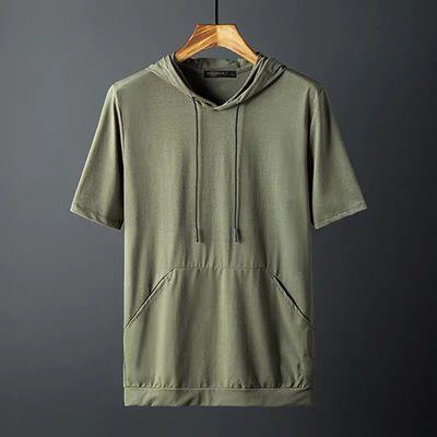 夏季卫衣男短袖宽松薄款纯色半袖休闲连帽t恤韩版学生小清新衣服