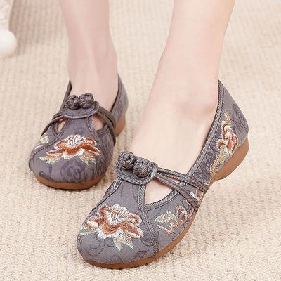 汉舞布鞋老北京女时尚女鞋2020新款春季妈妈鞋一脚蹬绣花鞋民族风