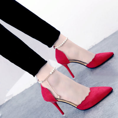 2020新款高跟鞋女尖头黑色性感一字扣细跟单鞋春夏季新款红色婚鞋