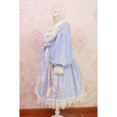 Alice girl原创新款 Lolita天使柄蝴蝶结蕾丝木耳边长袖连衣裙