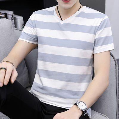高品质95棉夏季短袖t恤男士潮流V领条纹宽松半袖青少年学生简约款