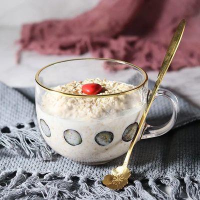 欧式金边钢化玻璃早餐杯家用牛奶杯大容量燕麦杯酸奶杯咖啡杯带勺