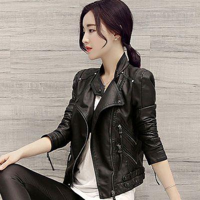品质保证收腰皮衣女短款韩版修身立领百搭水洗pu皮夹克机车外套潮