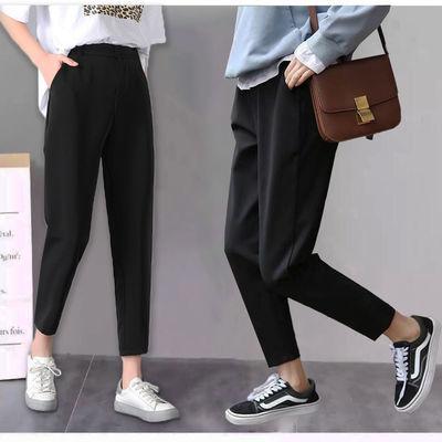 哈伦裤女夏季新款黑色裤子女学生韩版宽松休闲裤薄款九分裤萝卜裤