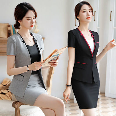 新品新款短袖单件西装女士OL时尚职业装女装套裙修身正装工作服套