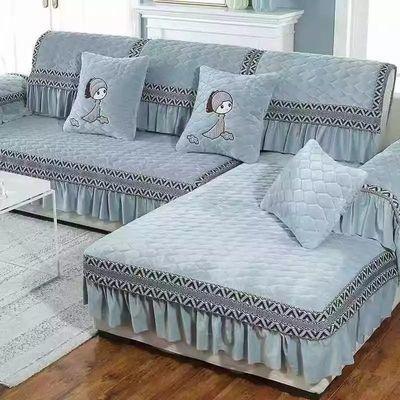 冬季毛绒加绒加厚沙发垫全盖布艺沙发坐垫万能套四季座套