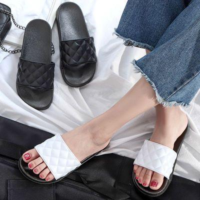 拖鞋女学生韩版原宿风ins同款格子外穿时尚百搭网红社会一字拖