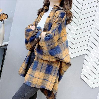 小香风复古磨毛格子衬衫2020春秋新款韩版衬衣百搭加厚外套上衣潮