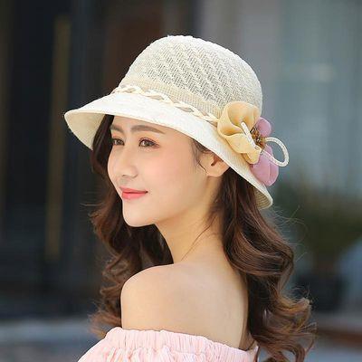 帽子女夏天草帽花朵遮阳帽夏季可折叠太阳帽防晒沙滩帽遮脸韩版潮