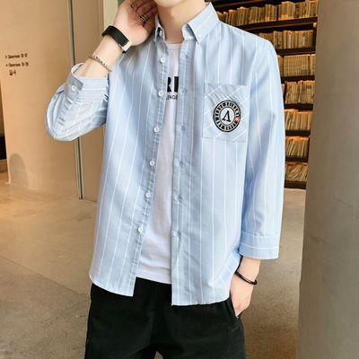 加洛韦男士长袖衬衫条纹七分袖衬衫青少年打底衫简约春夏薄款衬衣—品牌女装网