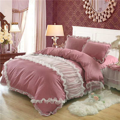 韩版全棉四件套蕾丝床裙式花边公主风床单1.5/1.8纯棉床罩式4件套