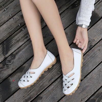 真皮镂空豆豆鞋女春夏季新款牛筋底凉鞋透气平底女鞋舒适休闲鞋子