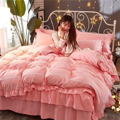 ins网红少女四件套全棉纯棉公主风床裙床单被套1.8/2.0m床上用品