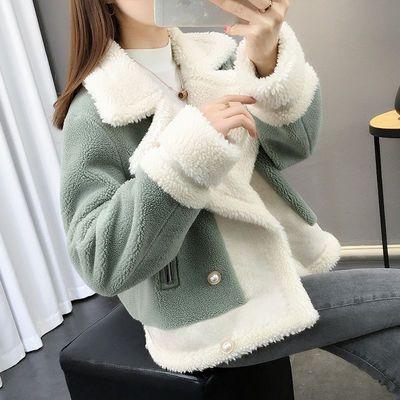 秋冬装2020新款羊羔毛外套女短款宽松针织皮毛一体加厚毛衣开衫女