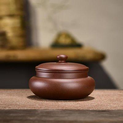 紫砂茶叶罐普洱醒茶罐家用手工底槽清密封罐中号便携陶瓷存储罐子
