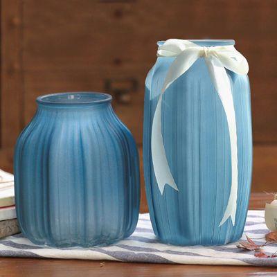 玻璃花瓶摆件装饰绿萝富贵竹百合插干花瓶透明彩色磨砂大号欧式