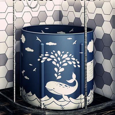 加厚沐浴桶折叠家用成人儿童塑料泡澡圆形保温大号免充气缸游泳池