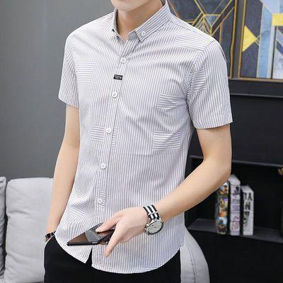 夏季薄条纹短袖衬衫男韩版潮流商务男士半袖衬衣帅气寸衫上衣男装