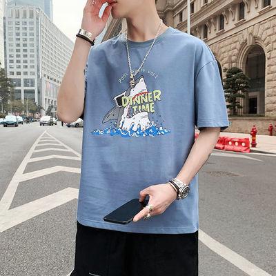男士短袖T恤韩版潮流夏季半袖青年圆领修身上衣服男装宽松打底衫