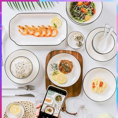 北欧餐具套装饭碗菜盘筷子汤勺碟子组合微波炉专用家用防烫耐高温