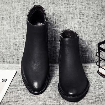 春秋时尚切尔西靴尖头马丁靴中帮潮流拉链正装商务男鞋