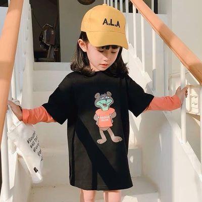 儿童女童假两件卡通印花宽松长款拼接T恤2020春装新款洋气女宝宝