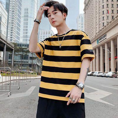 夏季短袖t恤男潮牌宽松圆领ins潮流上衣服2020年新款男生条纹体恤