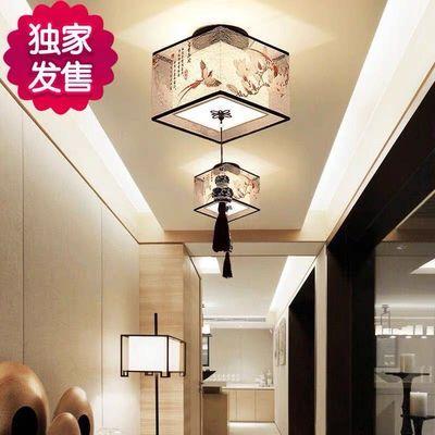 吸顶灯新中式过道灯LED方形玄关灯 卧室灯阳台灯走廊灯现代简约灯