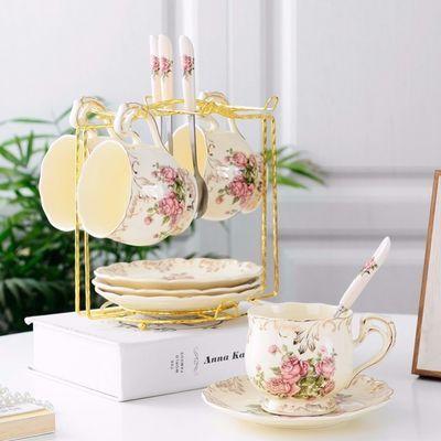 高档欧式咖啡杯碟架花茶陶瓷套装便携水杯子英式茶具家用创意简约