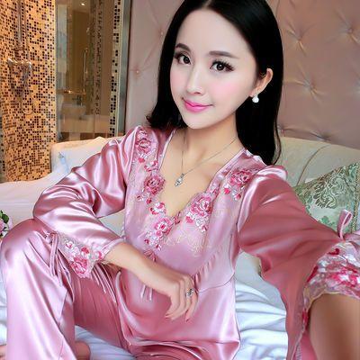 【春节发货】睡衣女性感长袖仿真丝女士春夏・季睡衣加大码家居服
