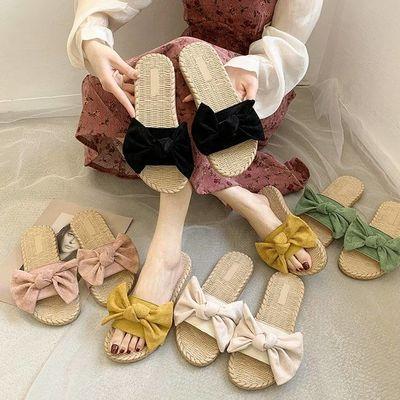 拖鞋女2020夏季新款蝴蝶结网红防滑平底一字拖学生百搭外穿凉拖鞋