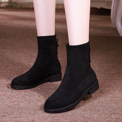 2020新款春秋单鞋韩版短靴女百搭平跟学生中筒靴平底弹力瘦瘦靴马