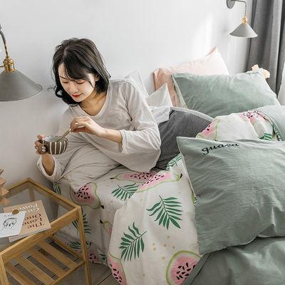 心恋水星全棉四件套纯棉床上用品被套床单款简约小清新加厚4件套